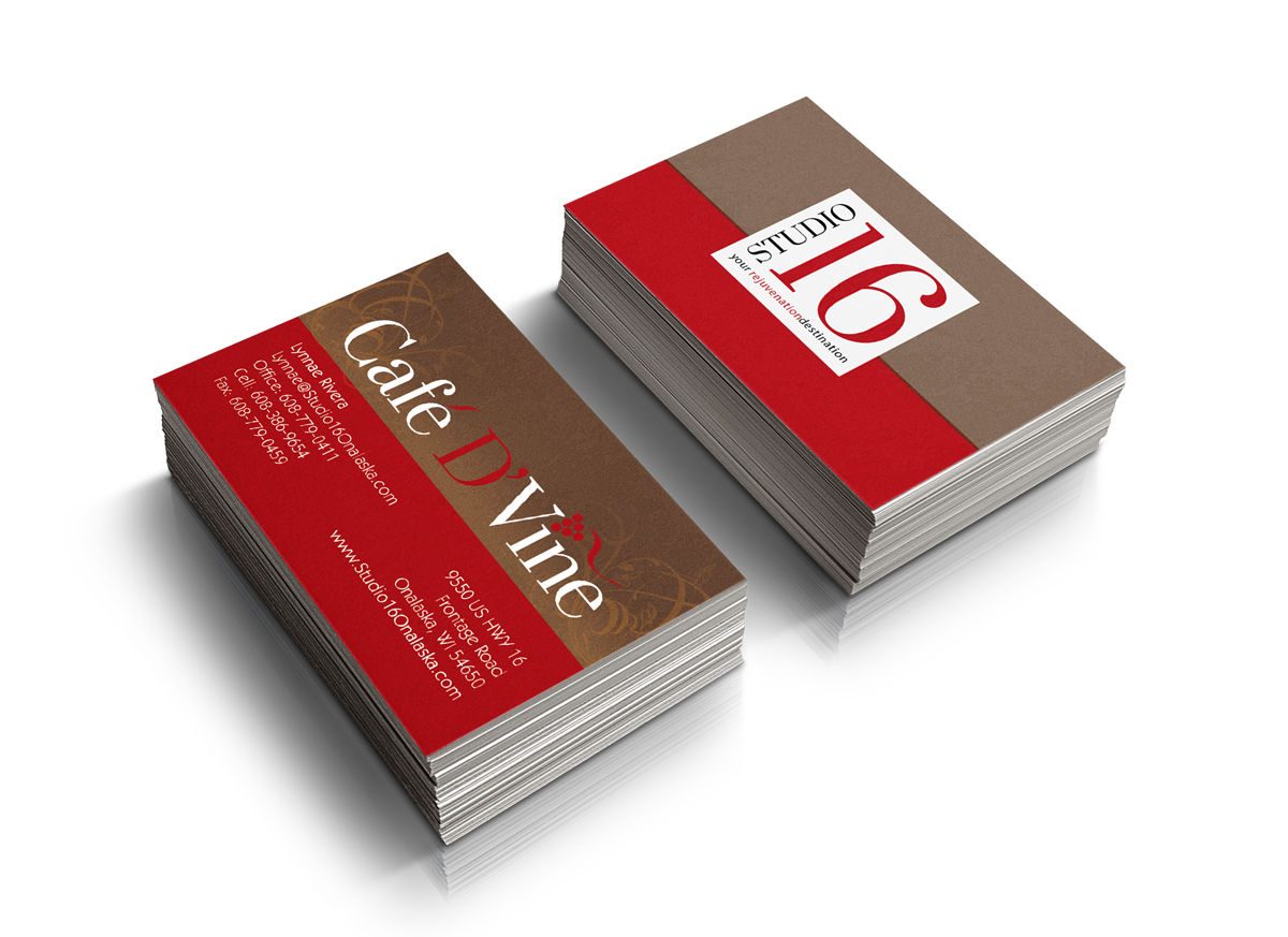 Cafe D'Vine and Studio 16 Business Cards