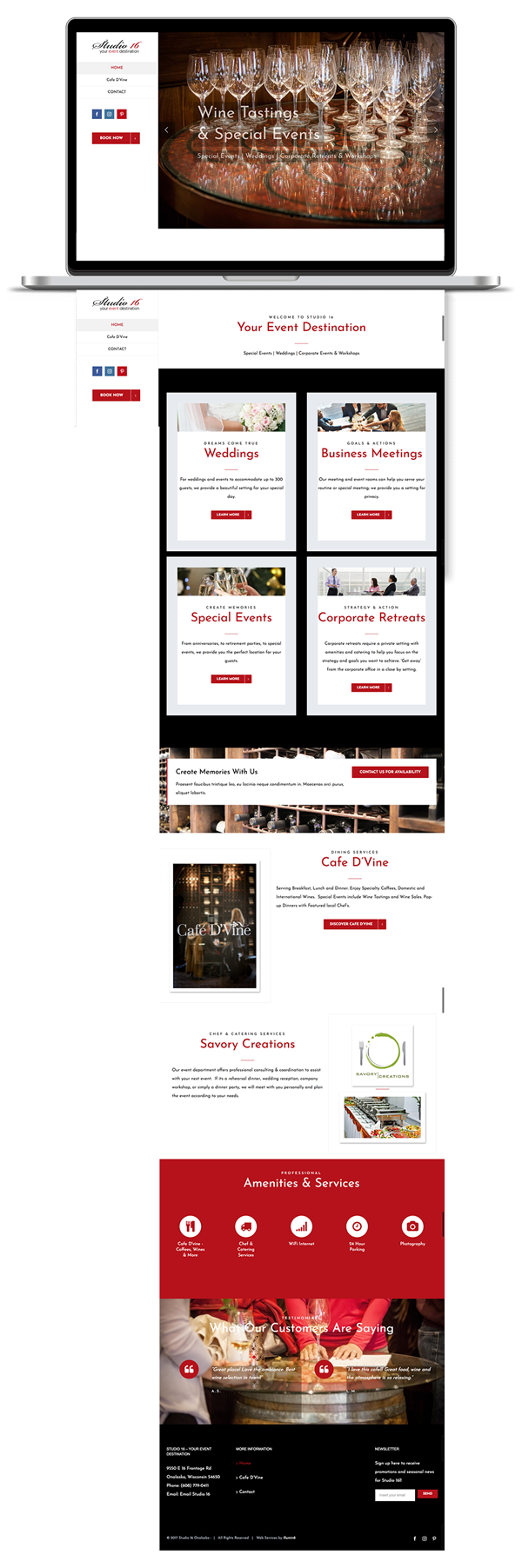 website for studio 16 your event destination created by illumin8