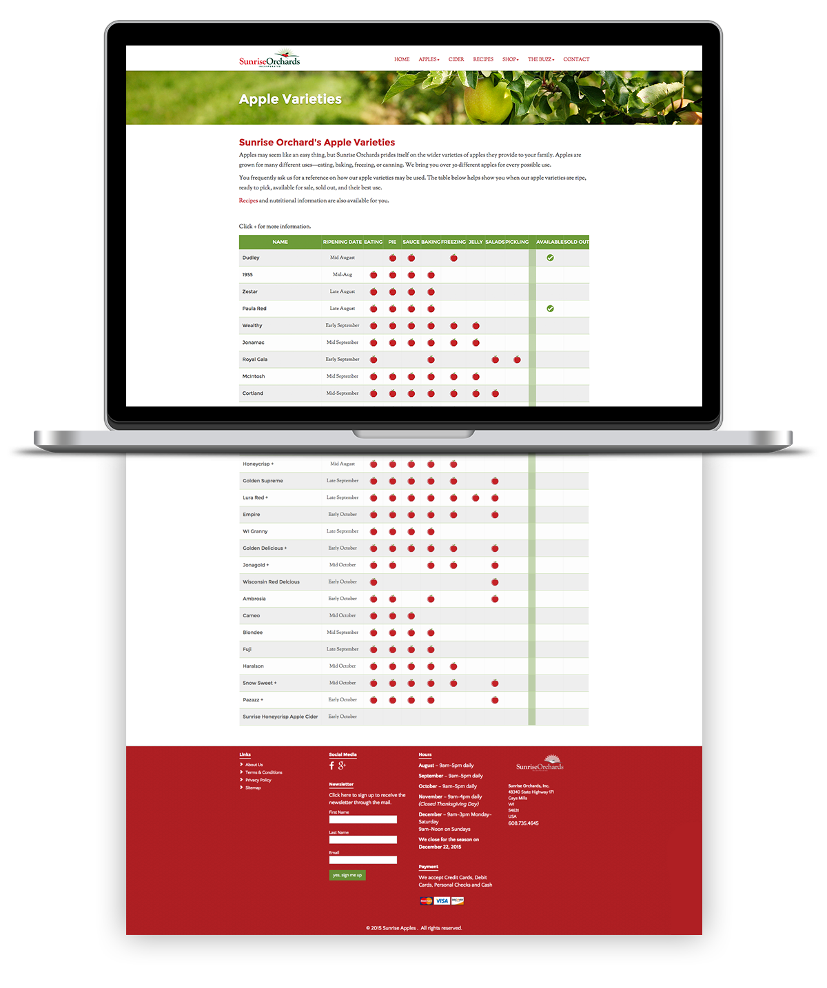 Image of the custom table and functionality for apple variety uses, availability and status for sale as programmed and developed for Sunrise apples by illumin8 marketing.