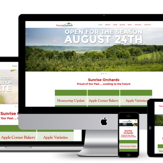 Image showing Sunrise Apples new responsive website as seen on all viewports.