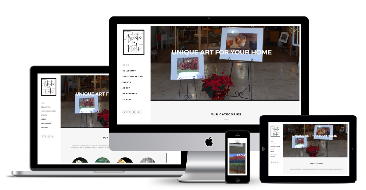 web design and development of midwest artists of note dysart, Iowa.