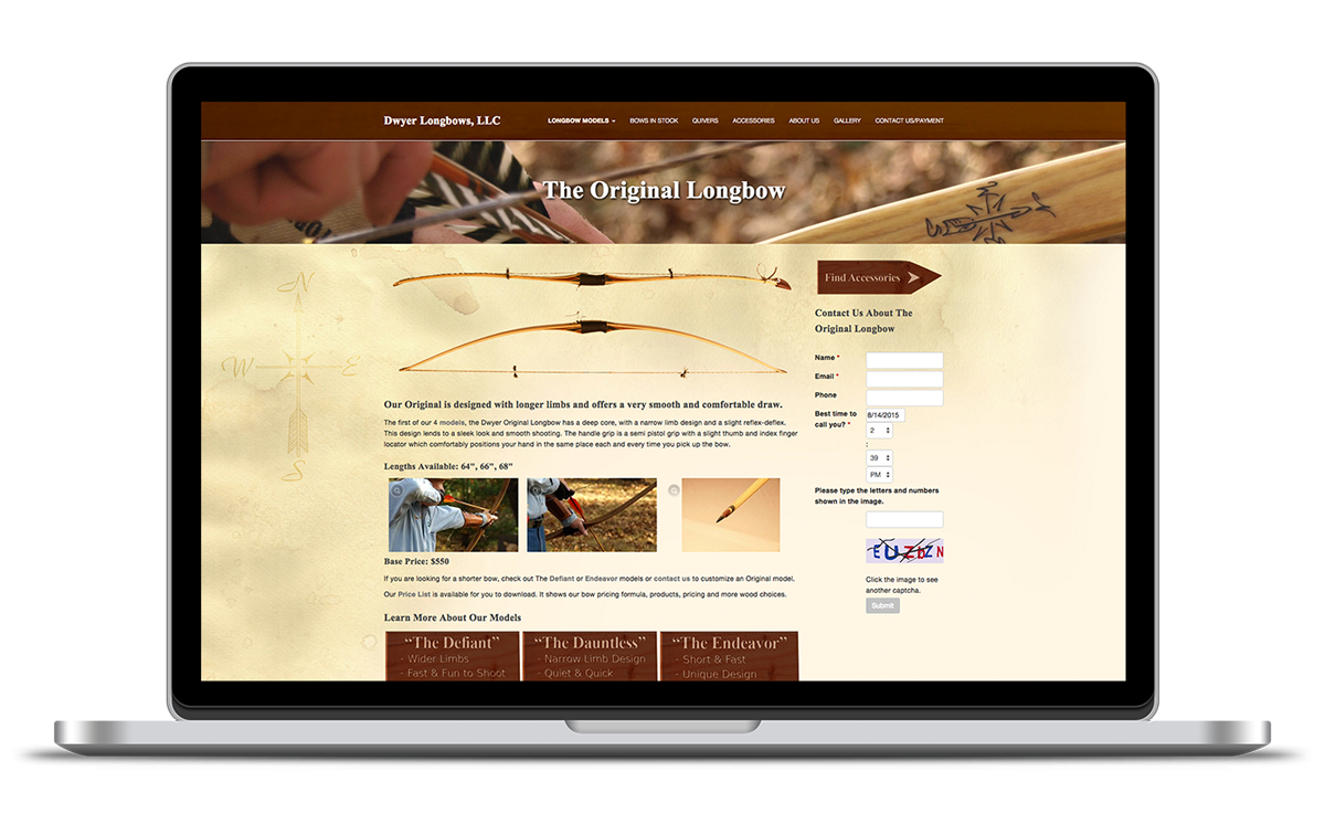 image of the product landing page for Dwyer longbows.