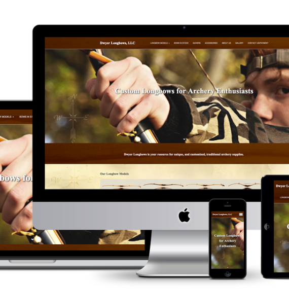 Image of responsive web design on all viewports showing the new Dwyer Longbows website by illumin8 marketing.