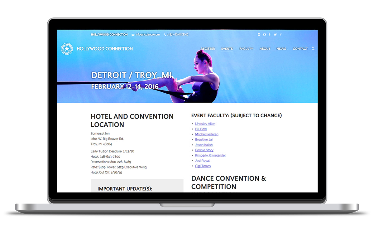 Image of a localized event landing page for HC Dance.