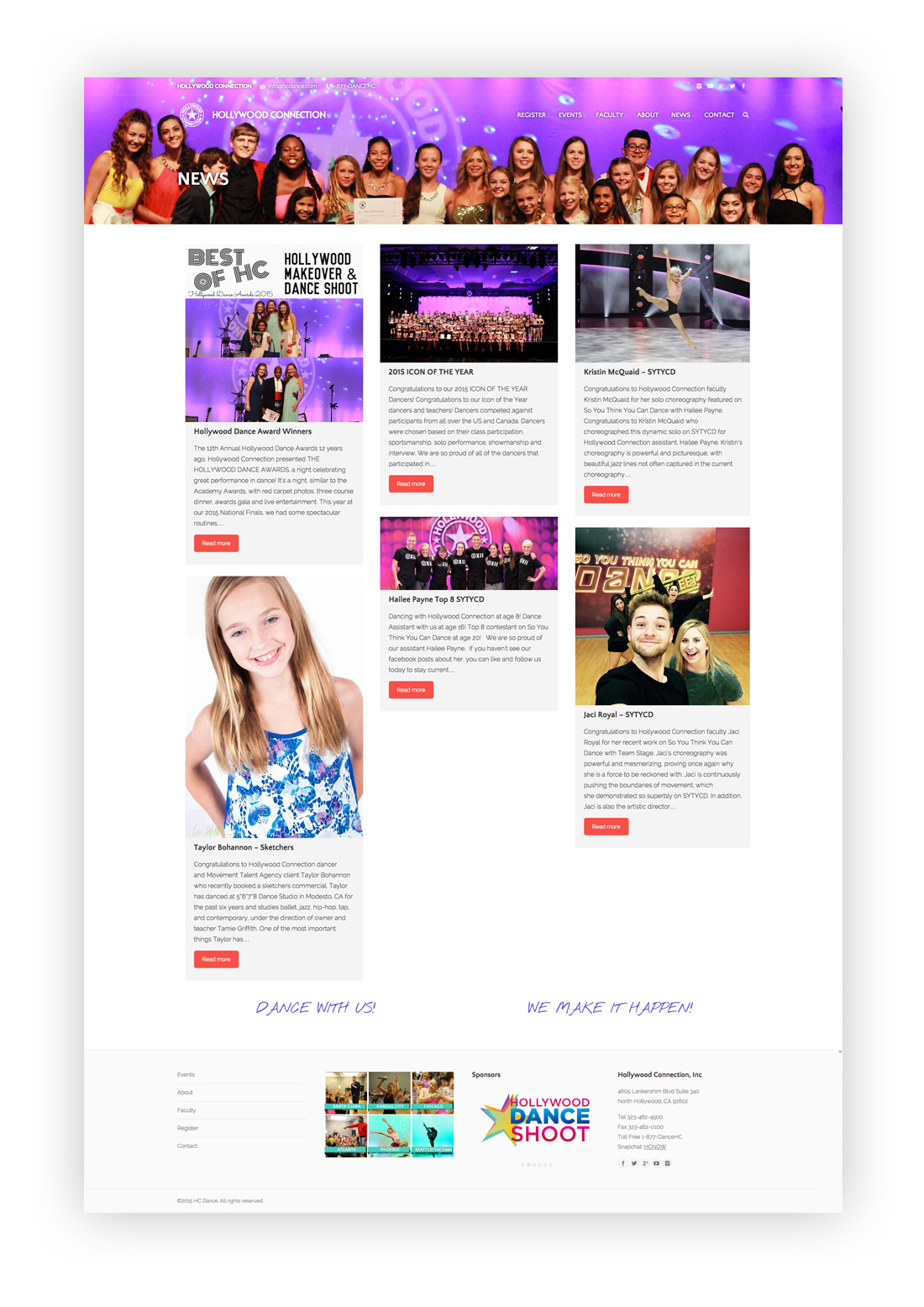Image of News landing page designed by illumin8 marketing for HC Dance