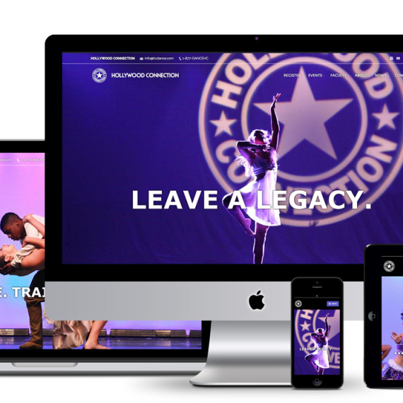 image of Responsive website viewports for desktop, mobile and tablet of HC Dance as designed and developed by illumin8 marketing.