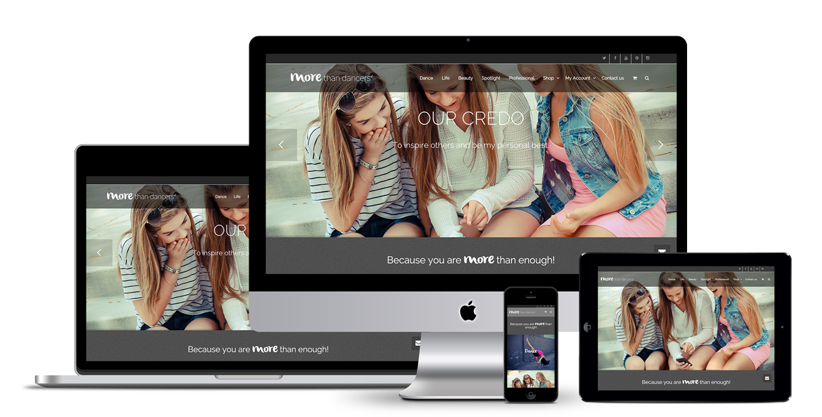 Image of the responsive website development for More than dancers.