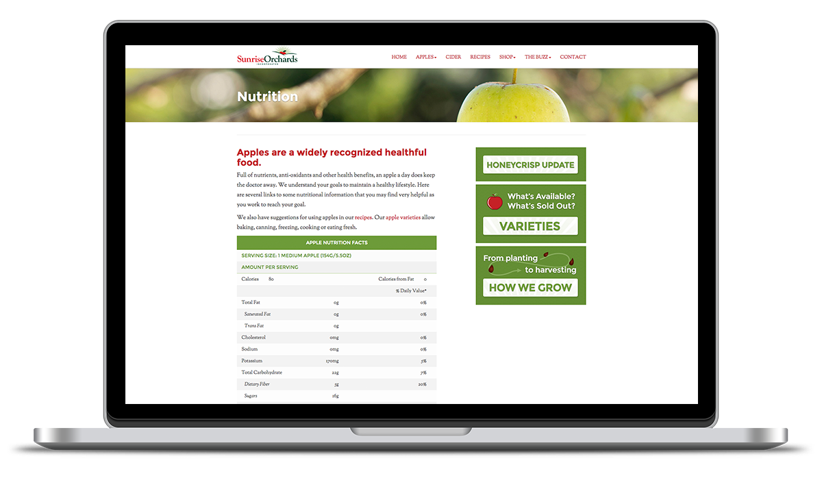 image of nutrition landing page for sunrise apples designed by illumin8 marketing.