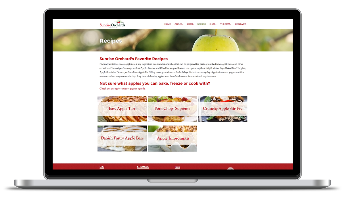 image of the recipes portfolio designed and developed for Sunrise apples by illumin8 marketing