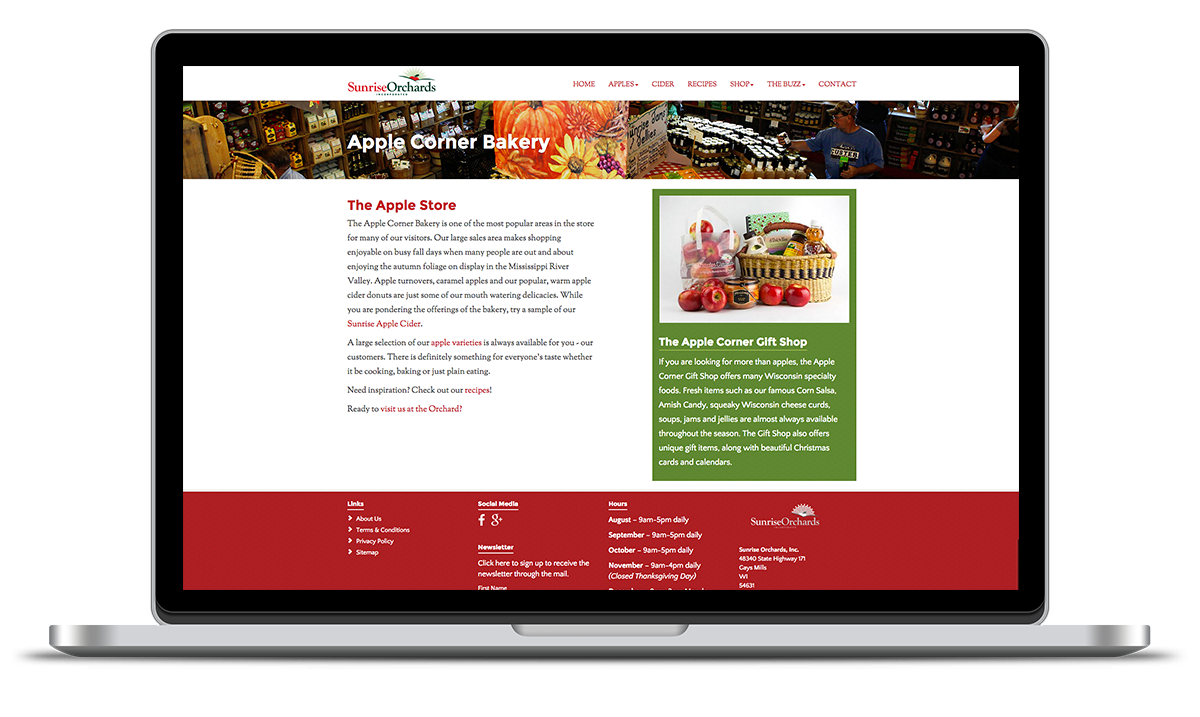 image of the apple corner bakery landing page designed and developed by illumin8 marketing.