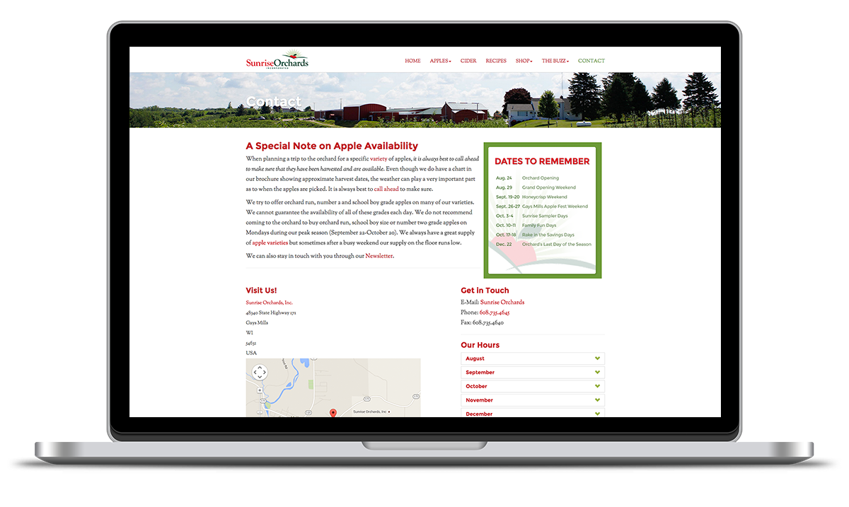 Image of contact page developed and designed for Sunrise apples by illumin8 marketing.