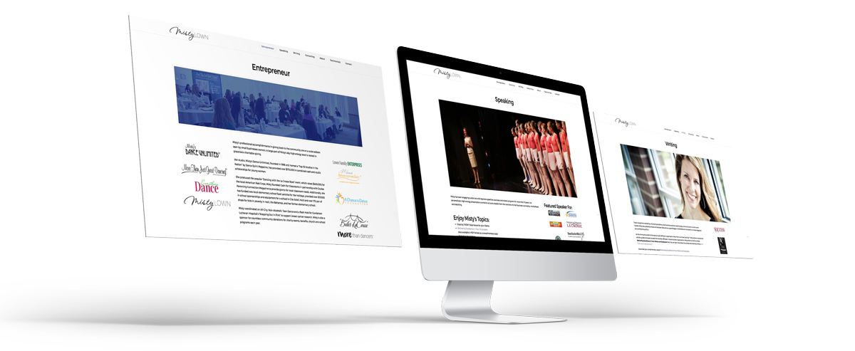 Perspective image of 3 screens designed for landing pages in the misty lown site.
