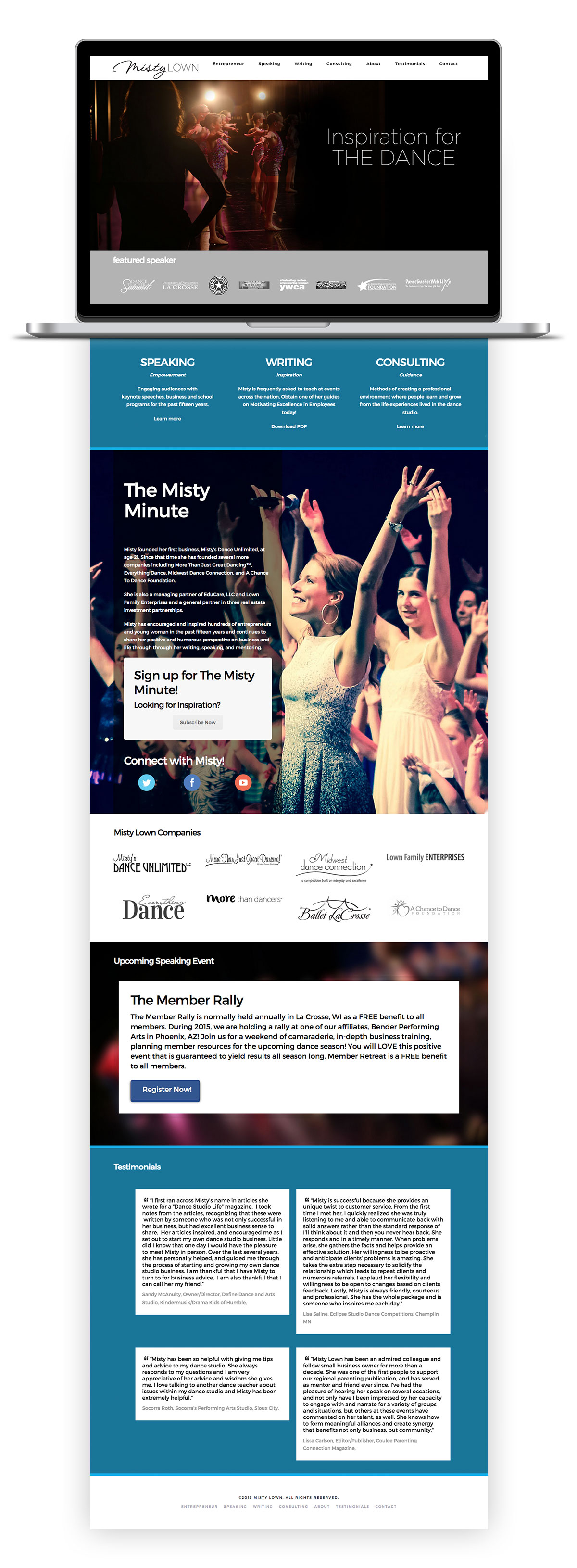 Image of home page for new Misty Lown responsive site as shown on a laptop.