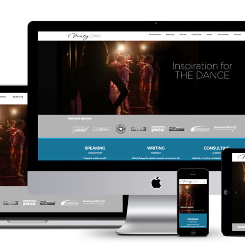 Image of responsive mockup for all viewports of Misty Lown website designed by illumin8 marketing.