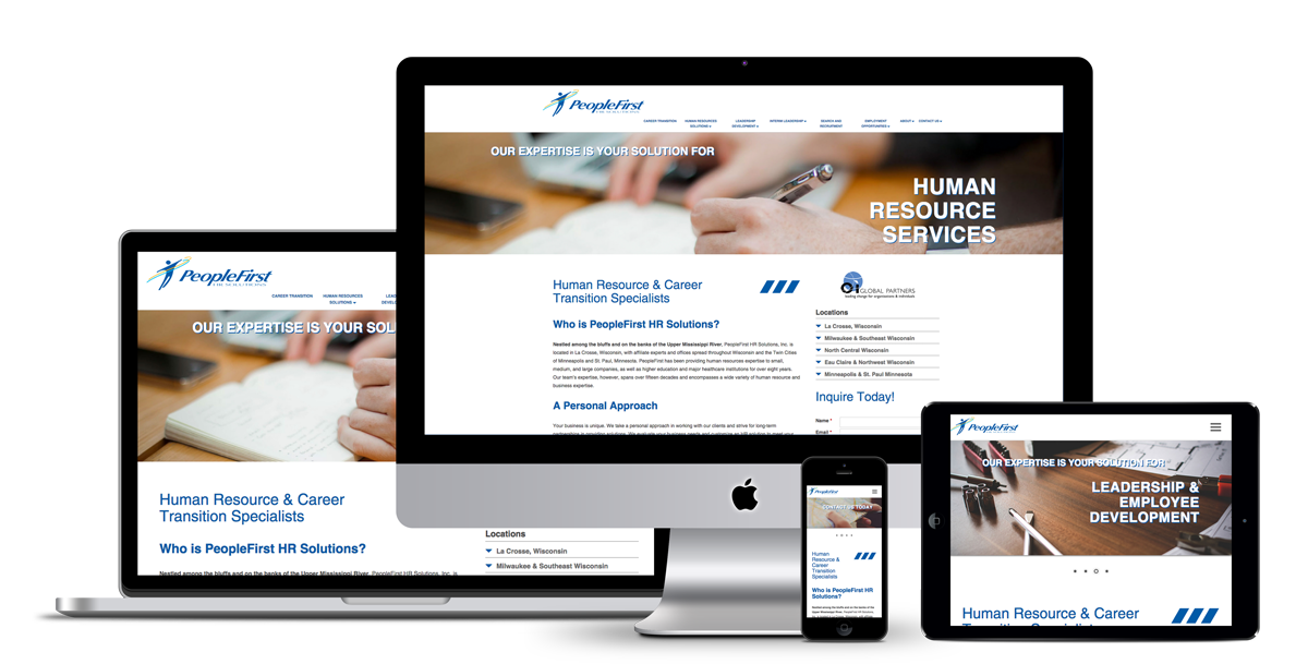 Image showing responsive website design mockup for People First HR Solutions on all viewports as designed by illumin8 marketing.