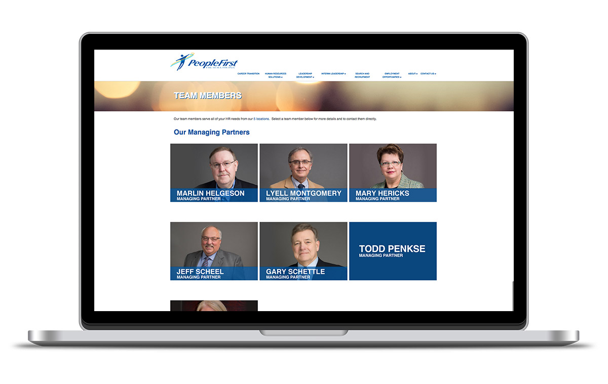 Image of the People First HR Solutions Team members page.