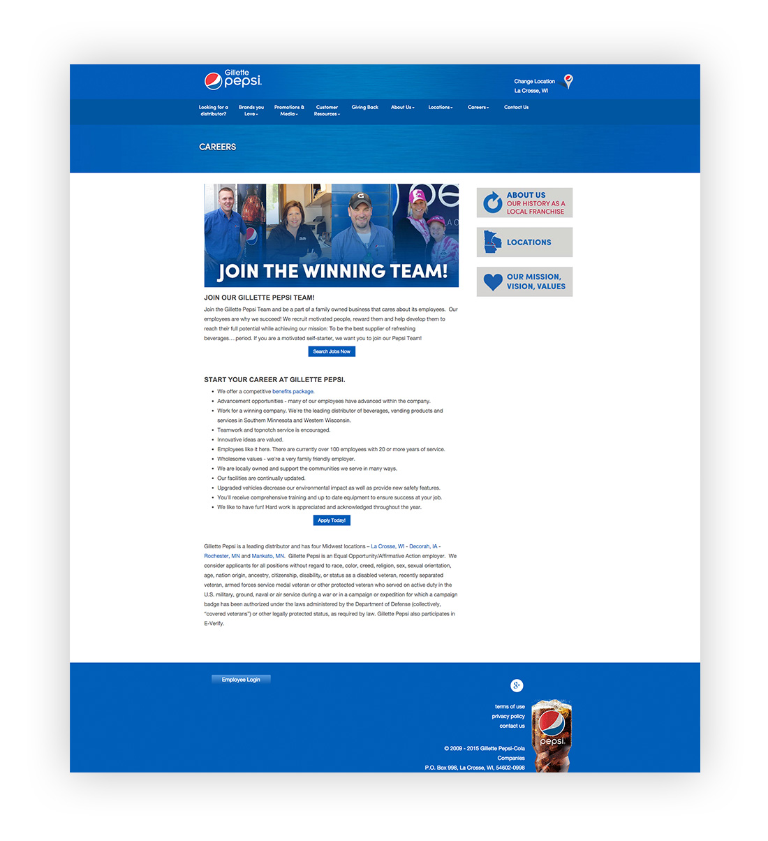 image of new landing page for employment at Gillette Pepsi.