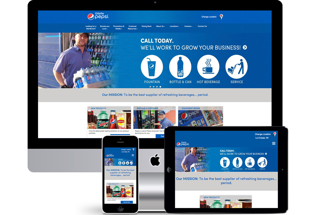 Image of responsive web design for Gillette Pepsi of La Crosse by illumin8 marketing.