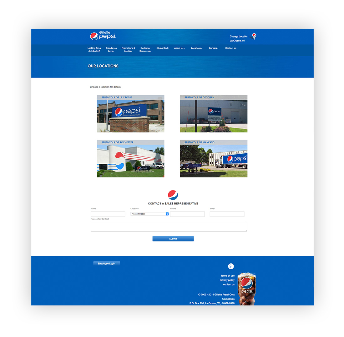 image of Gillette Pepsi Locations landing page.