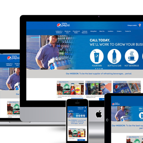 Image showing responsive website design with custom theme development for Gillette Pepsi by Illumin8 marketing.