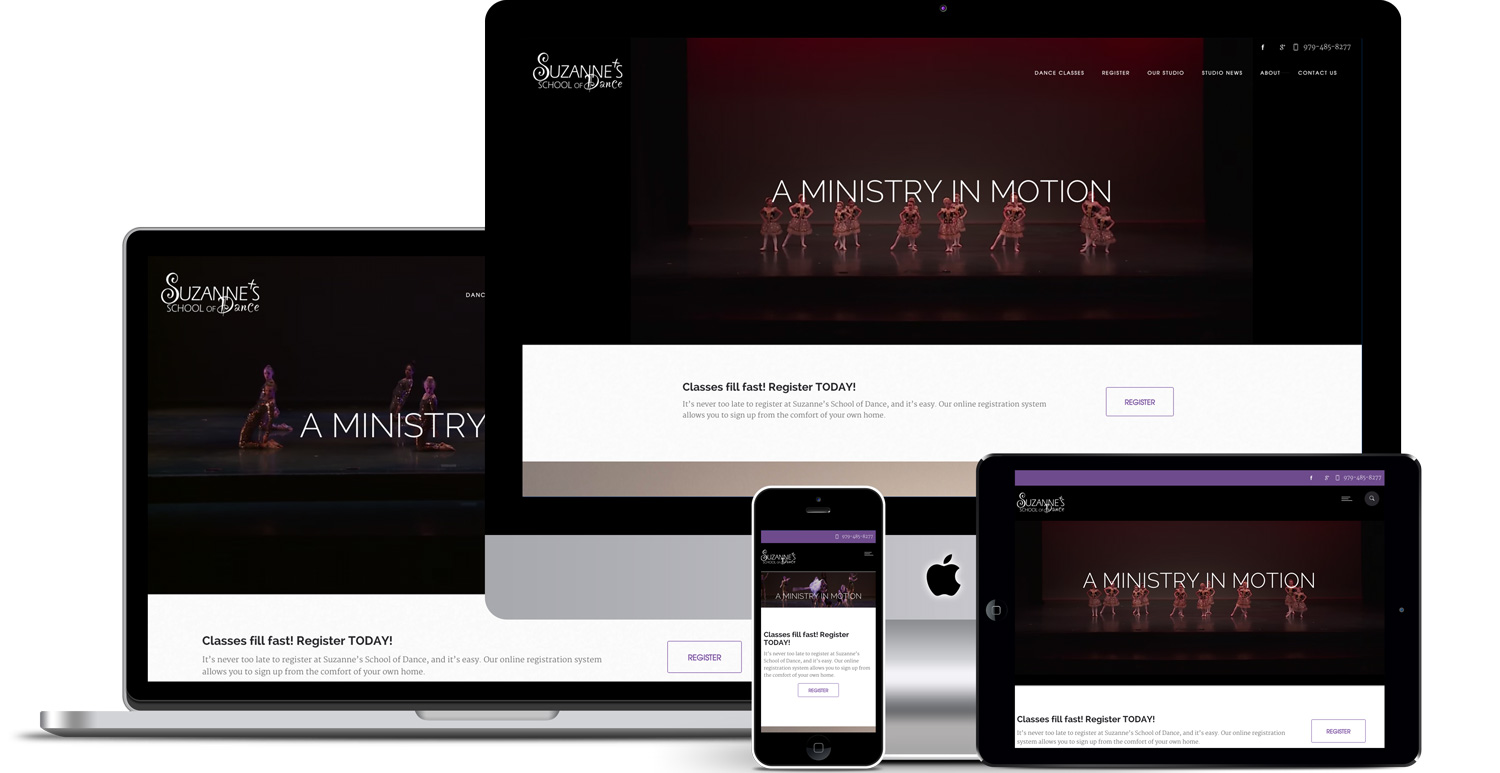 Responsive website design of Suzanne's Dance studio by Illumin8marketing.com