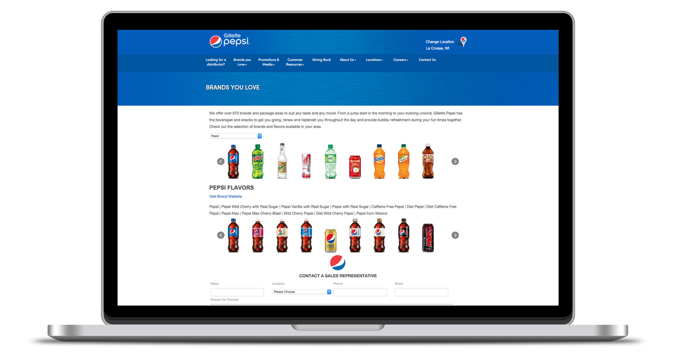 Image of landing page displaying pepsi brands as designed by illumin8 marketing.