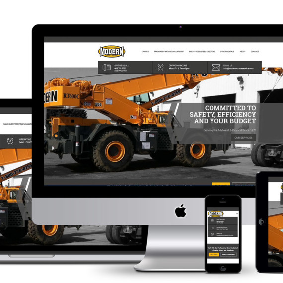 Modern Crane Website on multiple displays
