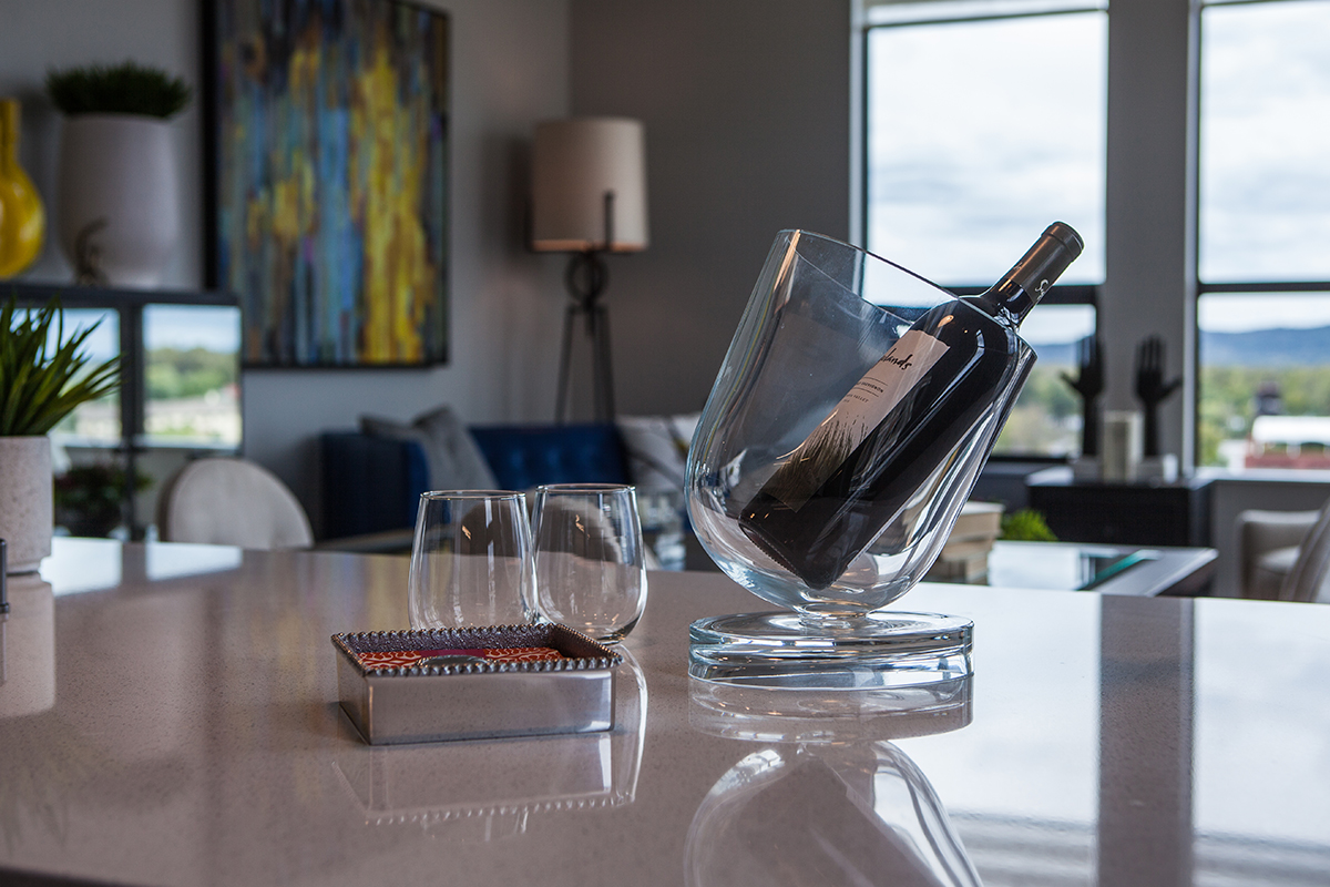 pmk photography - illumin8 image of countertop and wine; work done for Colleen designs it