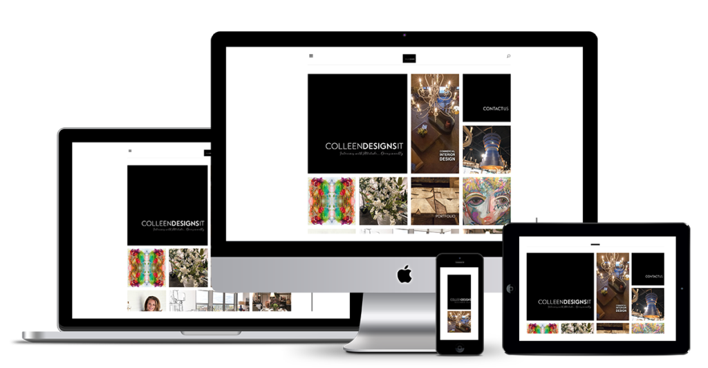 Image showing Colleen Designs It website in responsive modes designed by illumin8 marketing.
