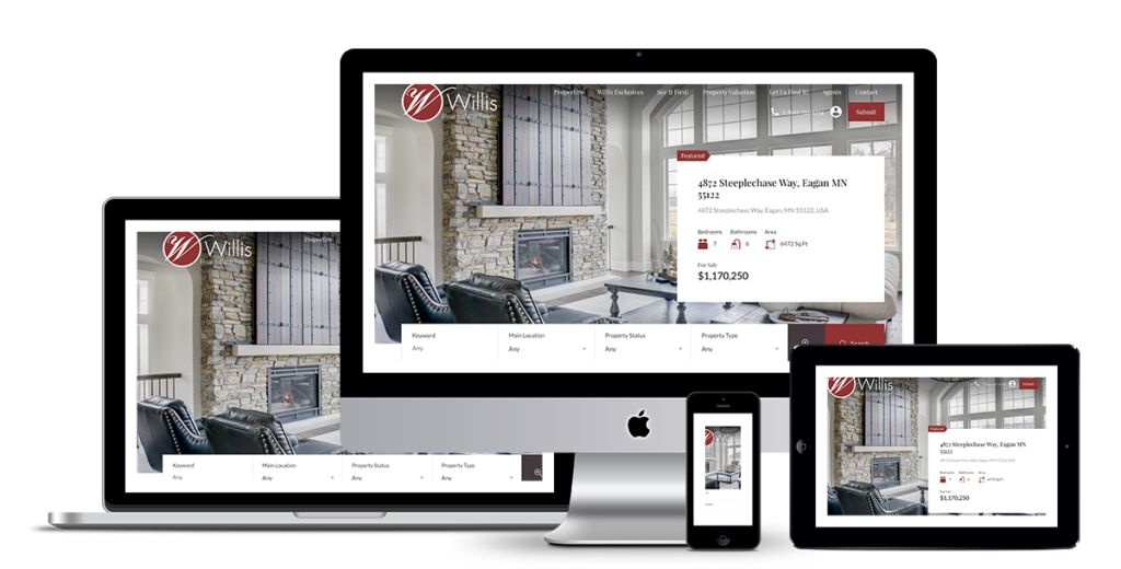 Web design and development for Willis Real Estate Team, Edina Realty, MN.