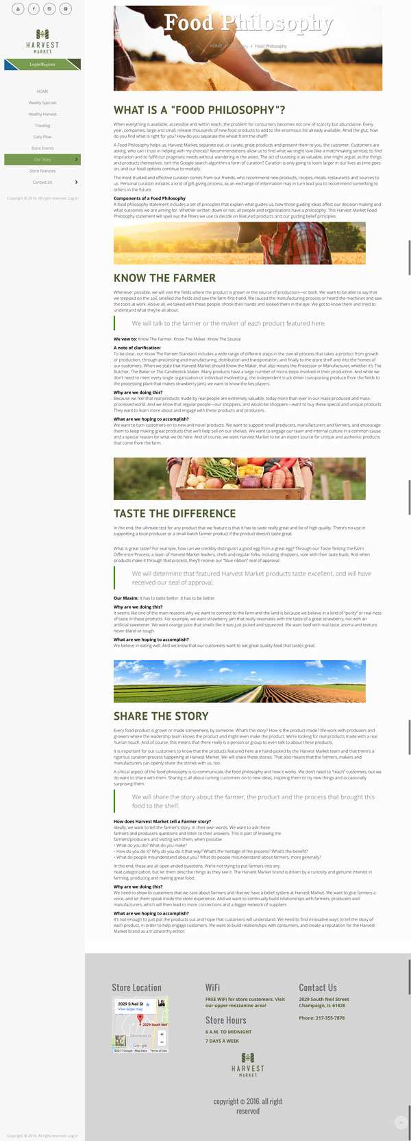 Go Harvest Market sample page of site