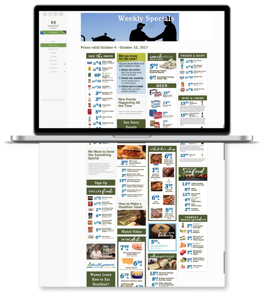 Go Harvest Market - card layout of weekly specials managed by store for user experience.