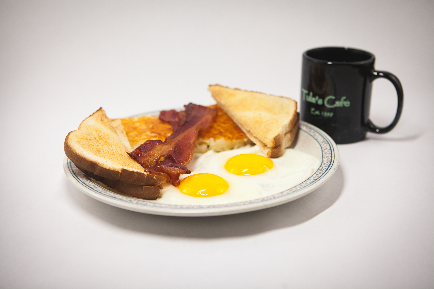 Food Photography for Tula's Northwoods Cafe - 2 eggs bacon classic breakfast