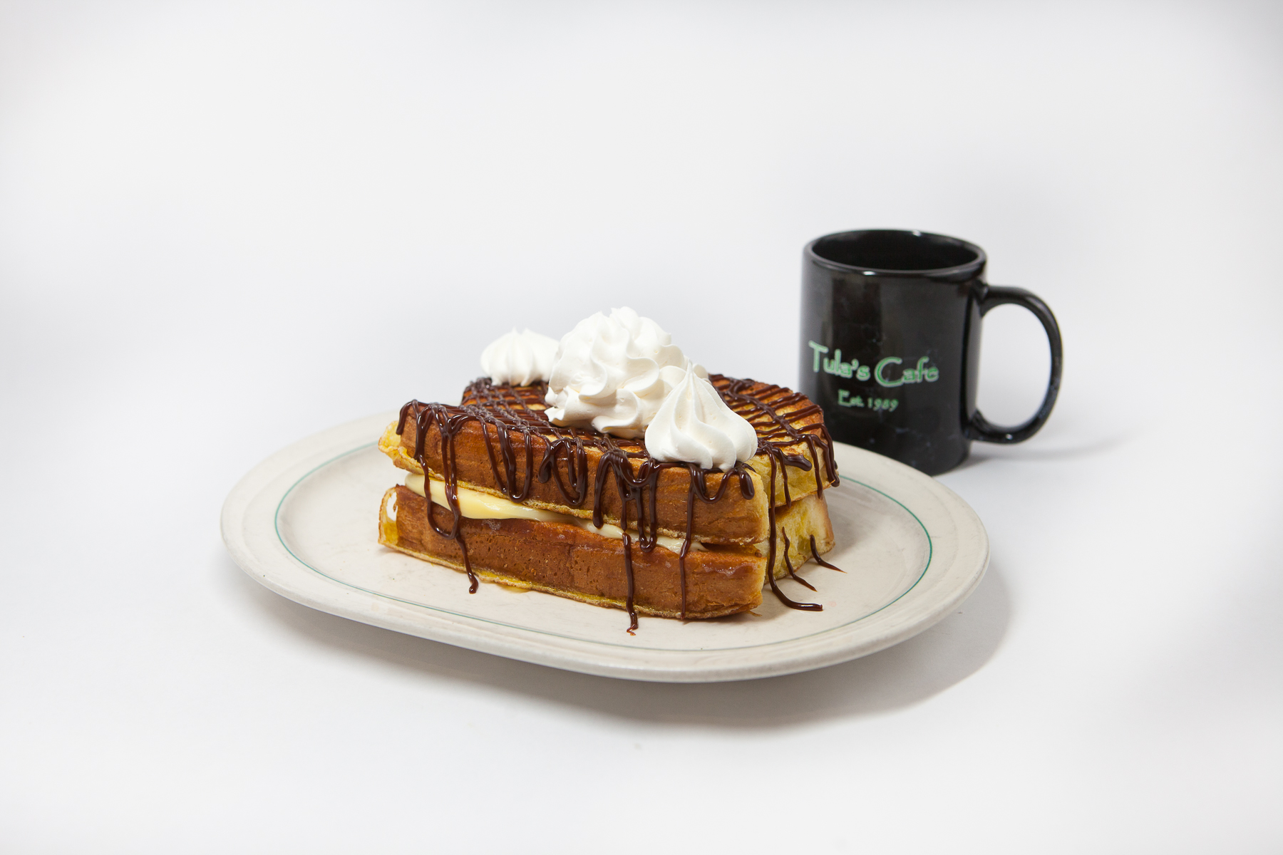Food Photography for Tula's Northwoods Cafe - chocolate eclaire french toast