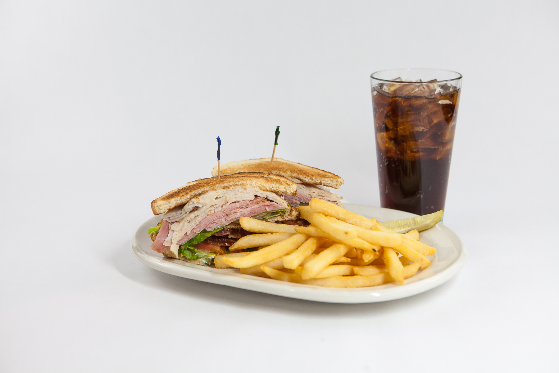 Food Photography for Tula's Northwoods Cafe - Turkey ham club sandwich and fries