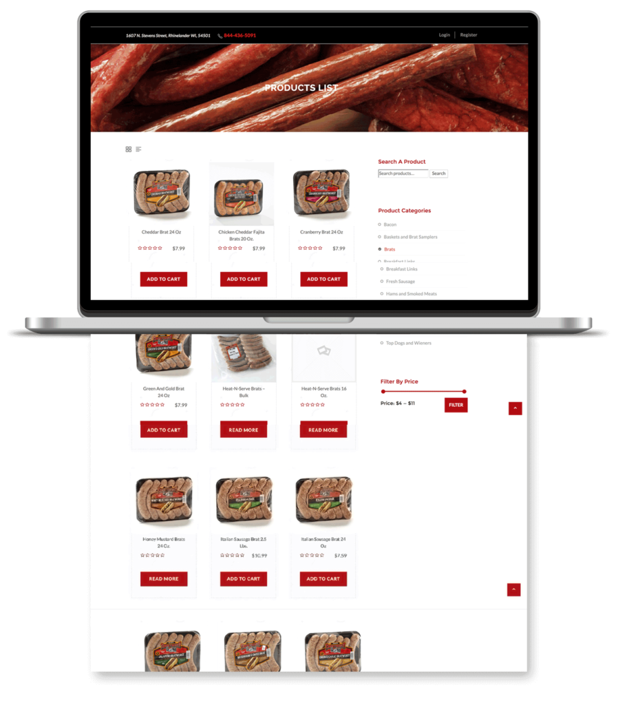 Image of Smokehouse online shopping page.