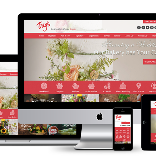 image of responsive web design for Trig's grocery store in Central and Northern Wisconsin by illumin8 marketing