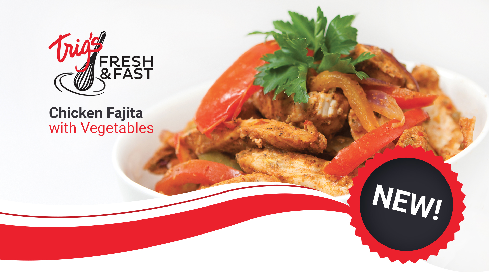 Photography and graphic design for fresh & fast by llumin8 - chicken fajita with vegetables