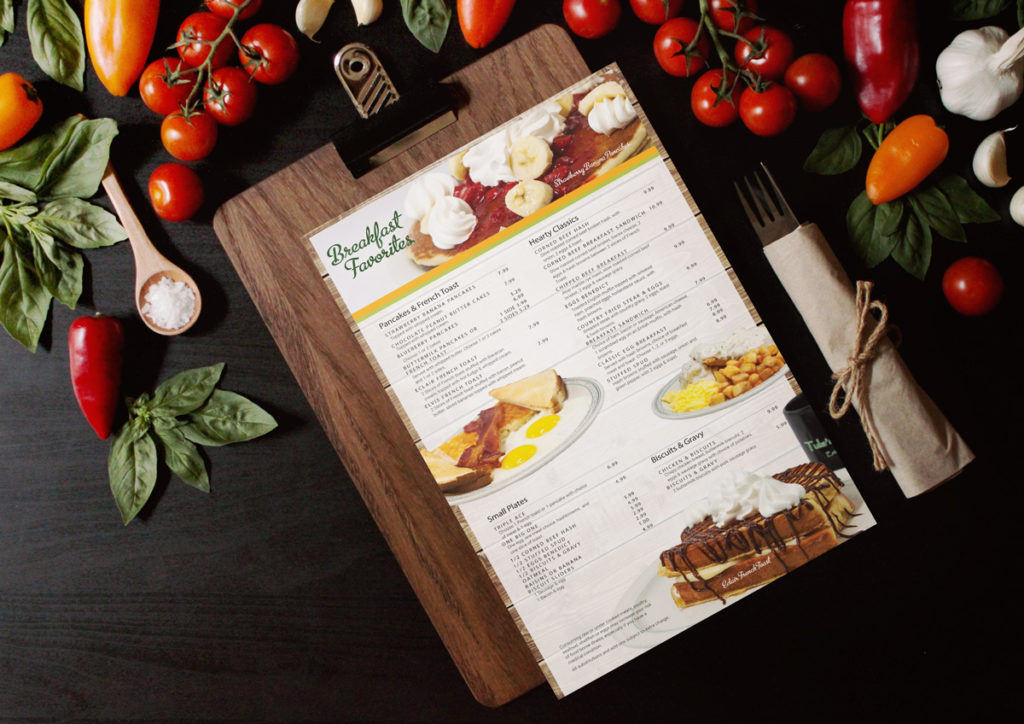 Image of Tula's printed menu breakfast page.l